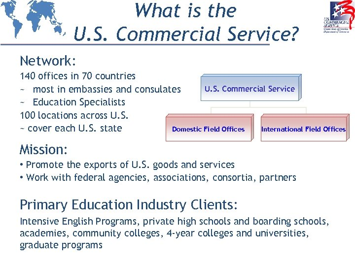 What is the U. S. Commercial Service? Network: 140 offices in 70 countries U.