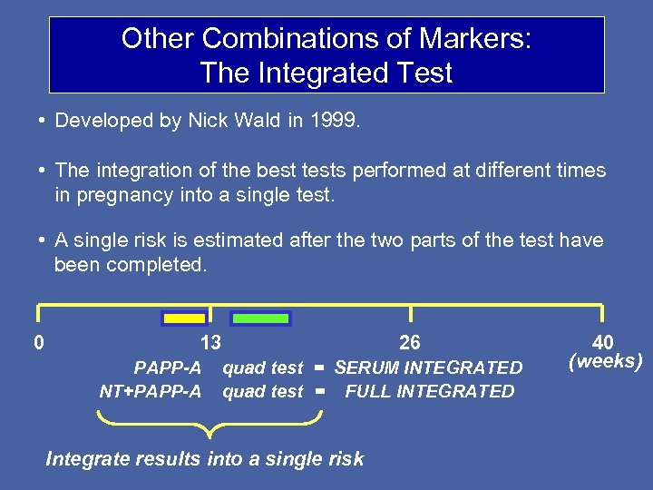 Other Combinations of Markers: The Integrated Test • Developed by Nick Wald in 1999.
