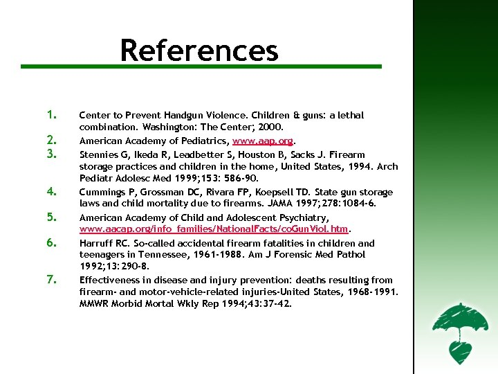References For Further Information References 1. 2. 3. 4. 5. 6. 7. Center to