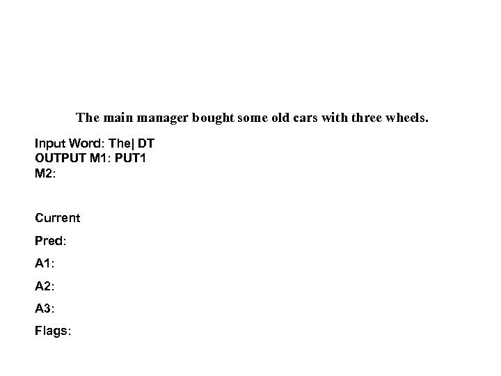 The main manager bought some old cars with three wheels. Input Word: The| DT
