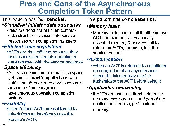 Pros and Cons of the Asynchronous Completion Token Pattern This pattern has four benefits: