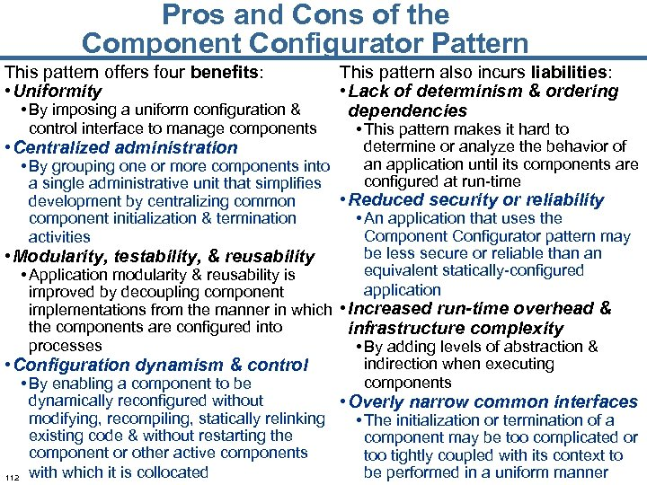 Pros and Cons of the Component Configurator Pattern This pattern offers four benefits: •