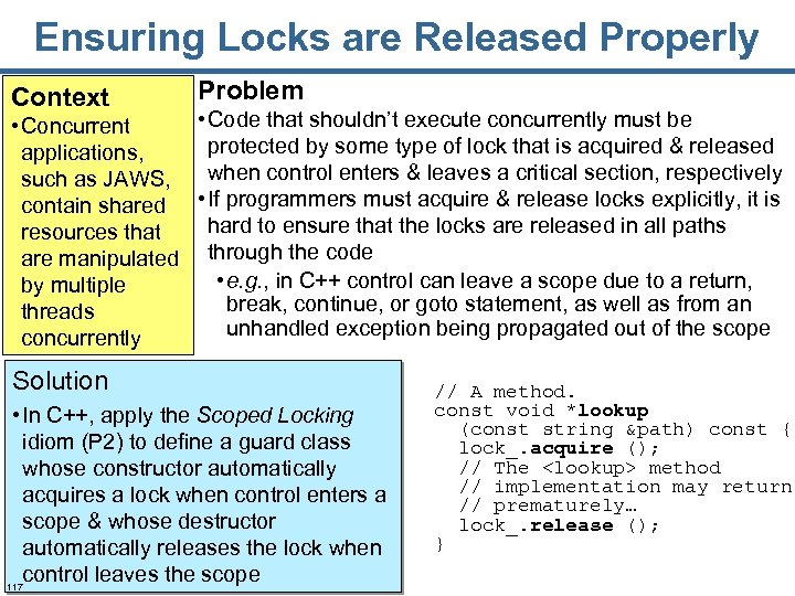 Ensuring Locks are Released Properly Context Problem • Code that shouldn't execute concurrently must