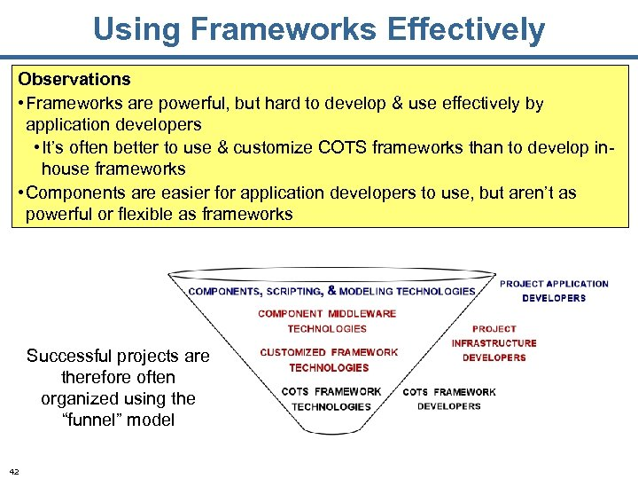 Using Frameworks Effectively Observations • Frameworks are powerful, but hard to develop & use