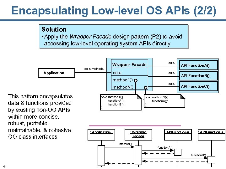 Encapsulating Low-level OS APIs (2/2) Solution • Apply the Wrapper Facade design pattern (P