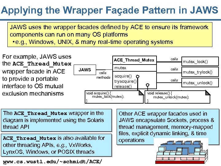 Applying the Wrapper Façade Pattern in JAWS uses the wrapper facades defined by ACE
