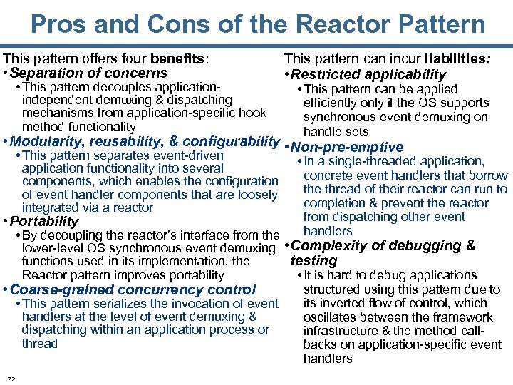 Pros and Cons of the Reactor Pattern This pattern offers four benefits: • Separation