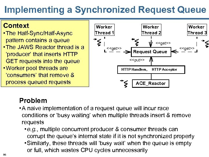 Implementing a Synchronized Request Queue Context • The Half-Sync/Half-Async pattern contains a queue •