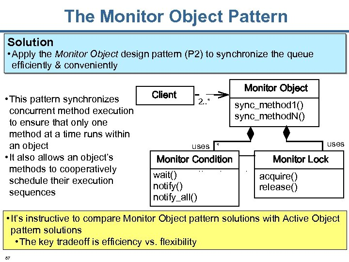 The Monitor Object Pattern Solution • Apply the Monitor Object design pattern (P 2)