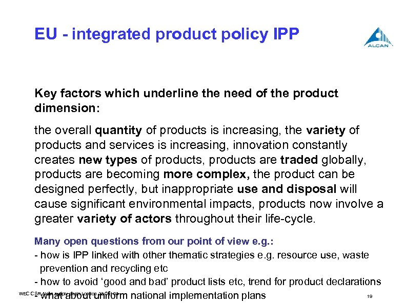 EU - integrated product policy IPP Key factors which underline the need of the