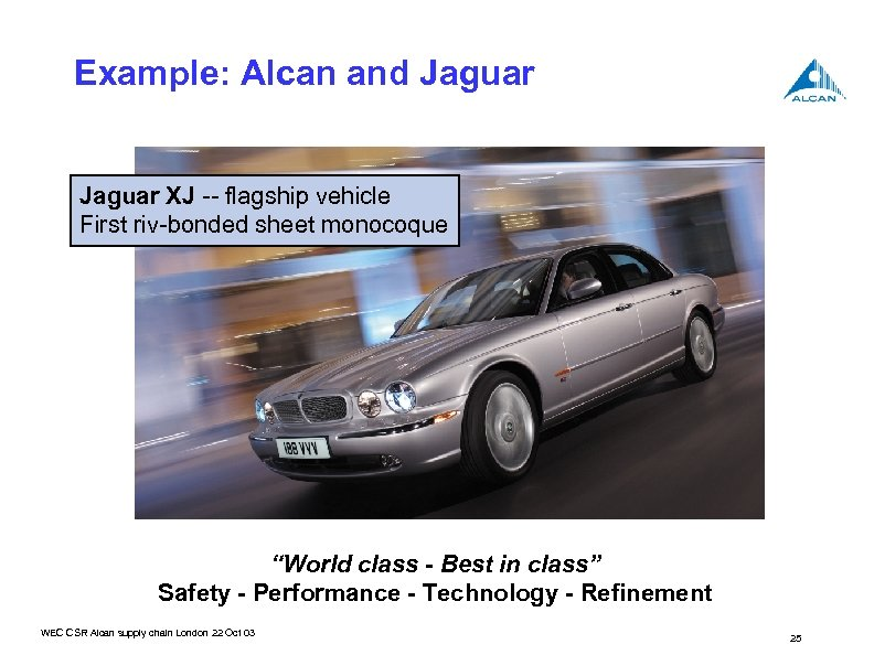 "Example: Alcan and Jaguar XJ -- flagship vehicle First riv-bonded sheet monocoque ""World class"