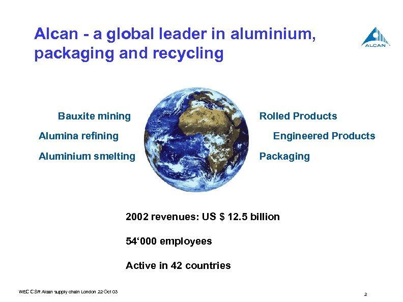 Alcan - a global leader in aluminium, packaging and recycling Bauxite mining Alumina refining