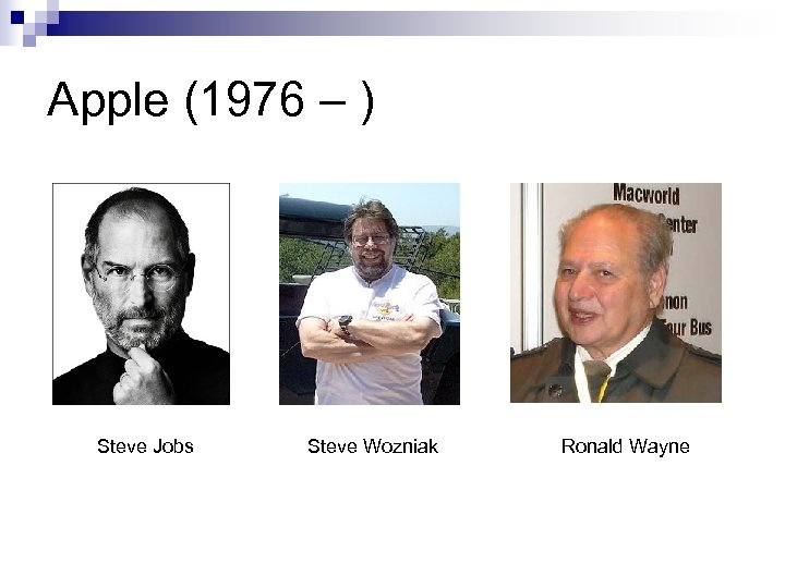 Apple (1976 – ) Steve Jobs Steve Wozniak Ronald Wayne