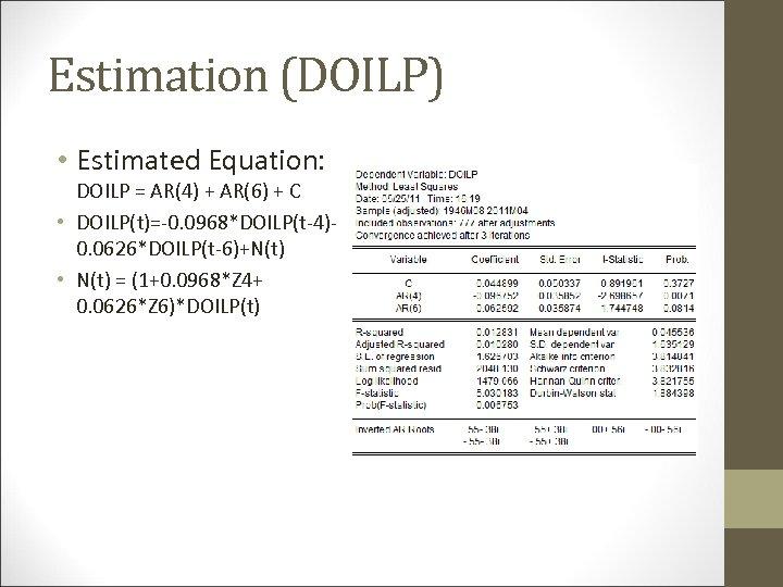 Estimation (DOILP) • Estimated Equation: DOILP = AR(4) + AR(6) + C • DOILP(t)=-0.