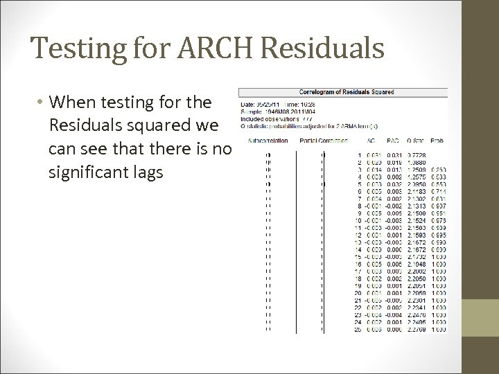 Testing for ARCH Residuals • When testing for the Residuals squared we can see