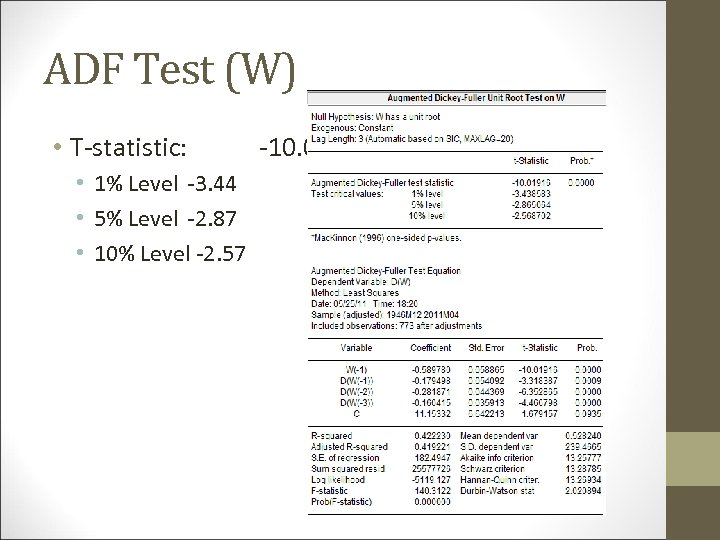 ADF Test (W) • T-statistic: • 1% Level -3. 44 • 5% Level -2.