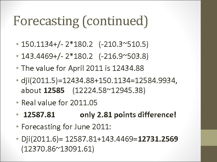 Forecasting (continued) • 150. 1134+/- 2*180. 2 (-210. 3~510. 5) • 143. 4469+/- 2*180.