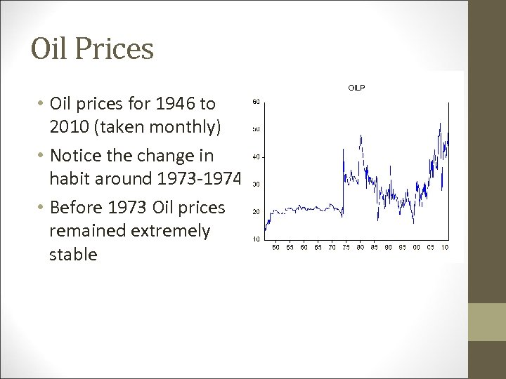 Oil Prices • Oil prices for 1946 to 2010 (taken monthly) • Notice the