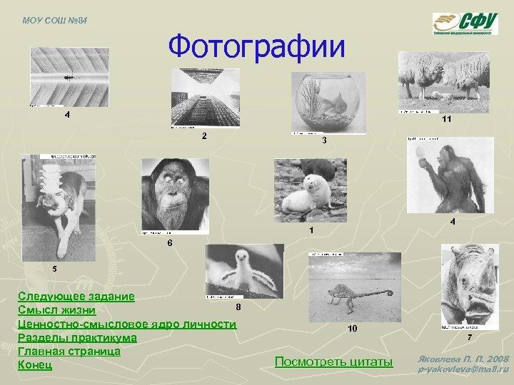 МОУ СОШ № 84 Фотографии 4 11 2 3 4 1 6 5 Следующее