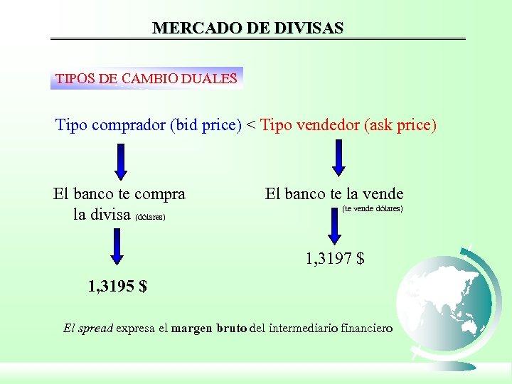 MERCADO DE DIVISAS TIPOS DE CAMBIO DUALES Tipo comprador (bid price) < Tipo vendedor
