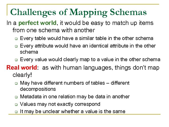 Challenges of Mapping Schemas In a perfect world, it would be easy to match