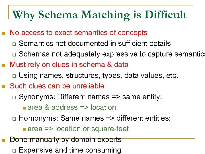 Why Schema Matching is Difficult n n No access to exact semantics of concepts
