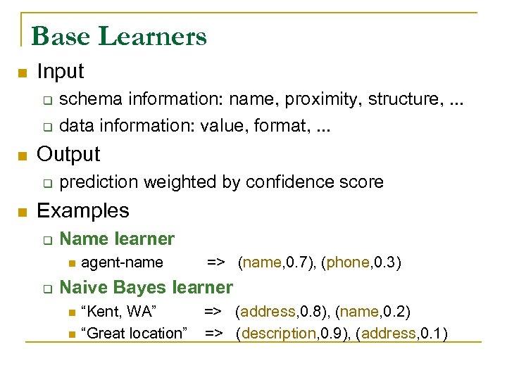 Base Learners n Input q q n Output q n schema information: name, proximity,