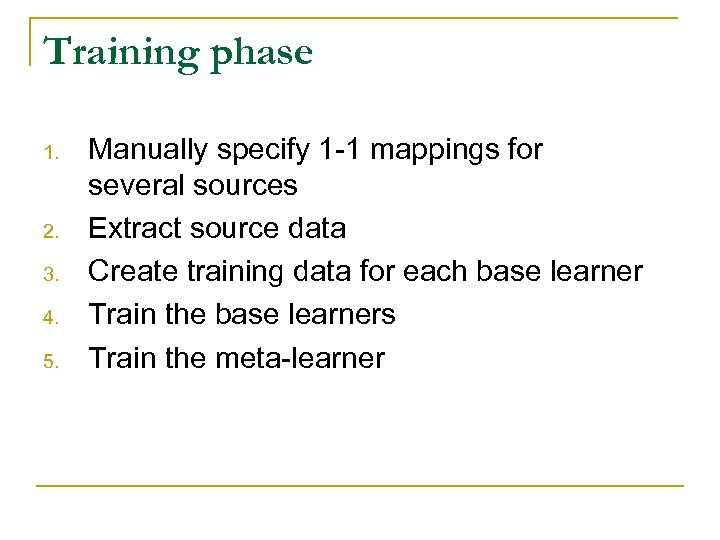 Training phase 1. 2. 3. 4. 5. Manually specify 1 -1 mappings for several