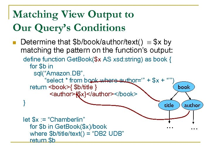 Matching View Output to Our Query's Conditions n Determine that $b/book/author/text() $x by matching