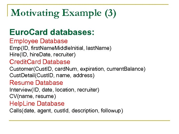Motivating Example (3) Euro. Card databases: Employee Database Emp(ID, first. Name. Middle. Initial, last.