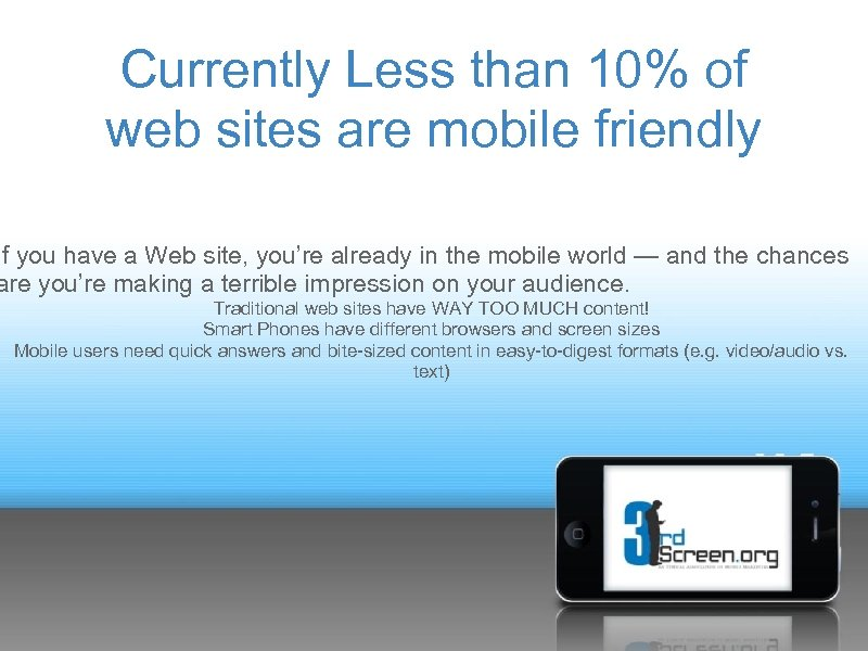 Currently Less than 10% of web sites are mobile friendly If you have a