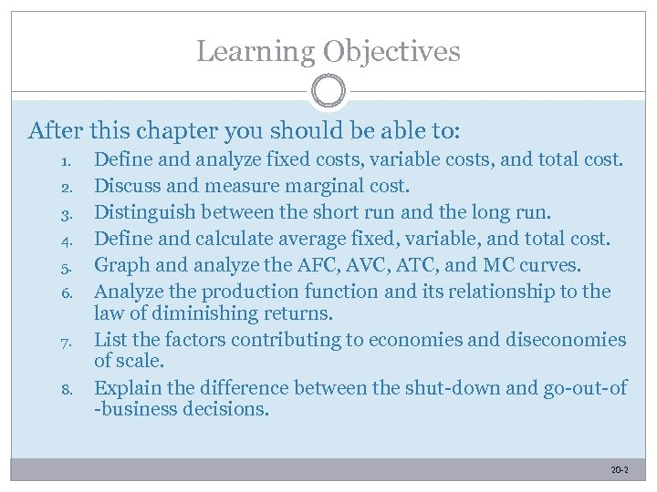Learning Objectives After this chapter you should be able to: 1. 2. 3. 4.