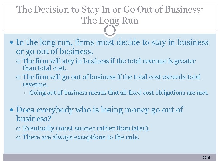 The Decision to Stay In or Go Out of Business: The Long Run In