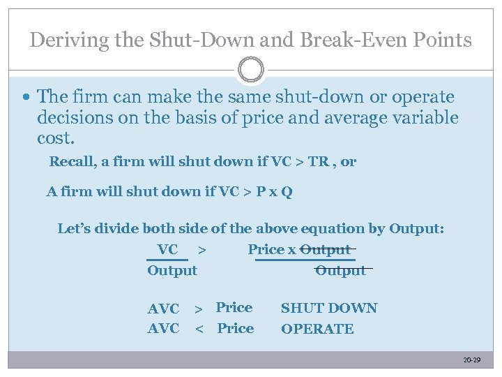 Deriving the Shut-Down and Break-Even Points The firm can make the same shut-down or
