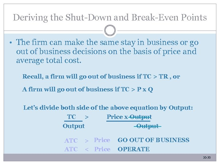 Deriving the Shut-Down and Break-Even Points • The firm can make the same stay