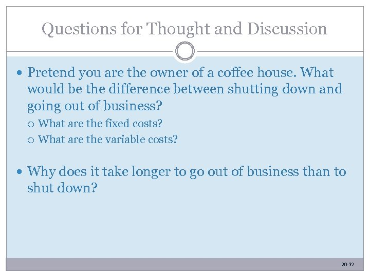 Questions for Thought and Discussion Pretend you are the owner of a coffee house.