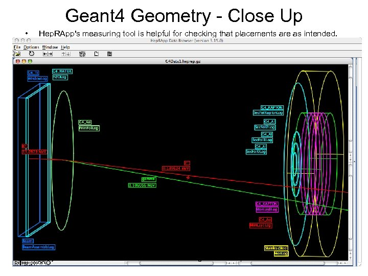 Geant 4 Geometry - Close Up • Hep. RApp's measuring tool is helpful for