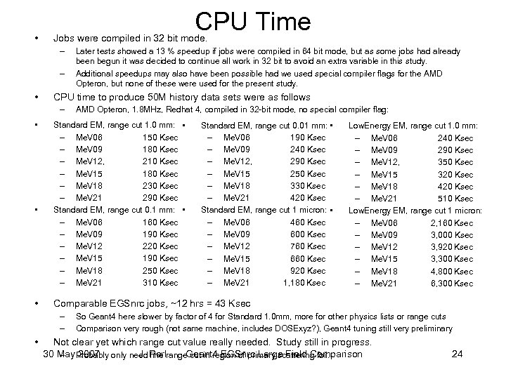 • CPU Time Jobs were compiled in 32 bit mode. – – •