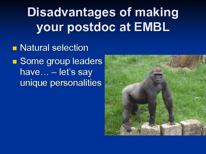 Disadvantages of making your postdoc at EMBL Natural selection n Some group leaders have…