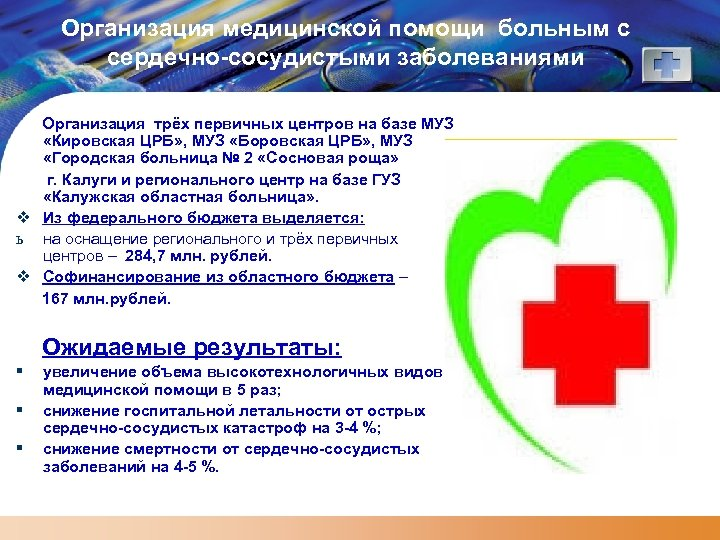 Организация медицинской помощи больным с сердечно-сосудистыми заболеваниями Организация трёх первичных центров на базе МУЗ