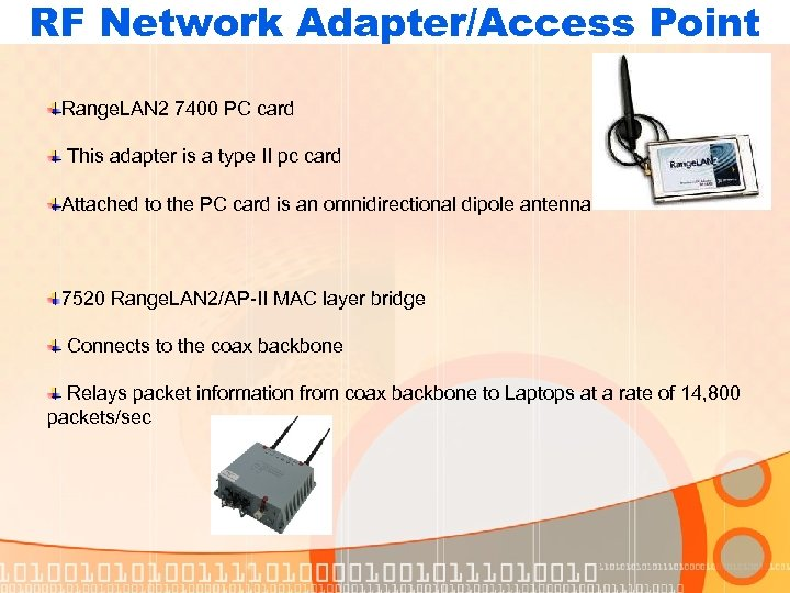 RF Network Adapter/Access Point Range. LAN 2 7400 PC card This adapter is a
