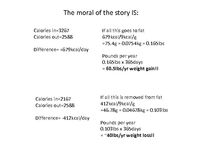 The moral of the story IS: Calories in=3267 Calories out=2588 Difference= +679 kcal/day Calories