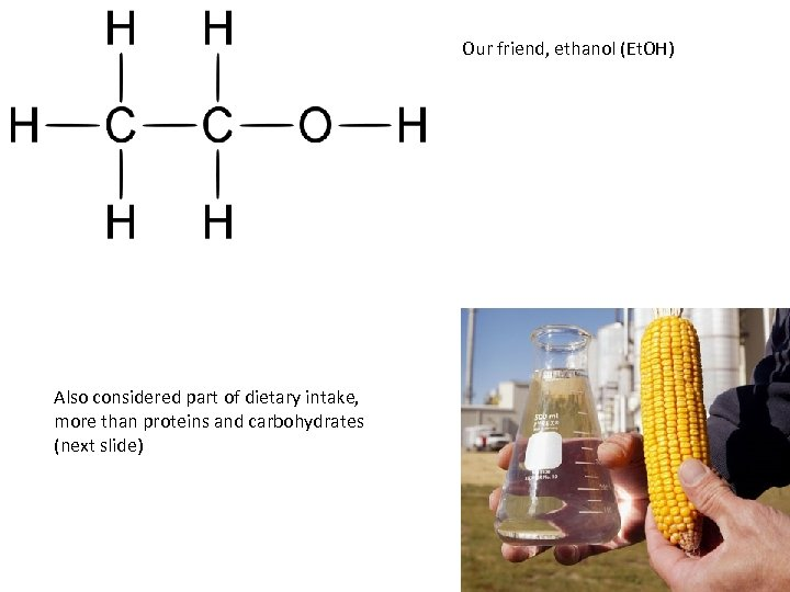 Our friend, ethanol (Et. OH) Also considered part of dietary intake, more than proteins
