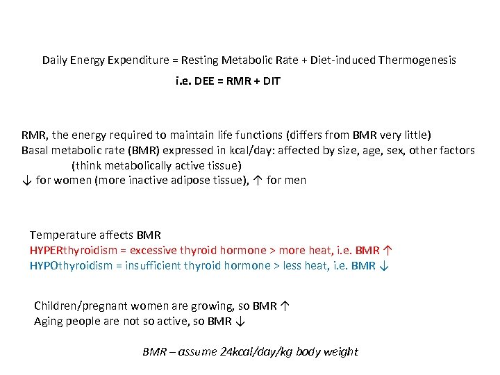 Daily Energy Expenditure = Resting Metabolic Rate + Diet-induced Thermogenesis i. e. DEE =