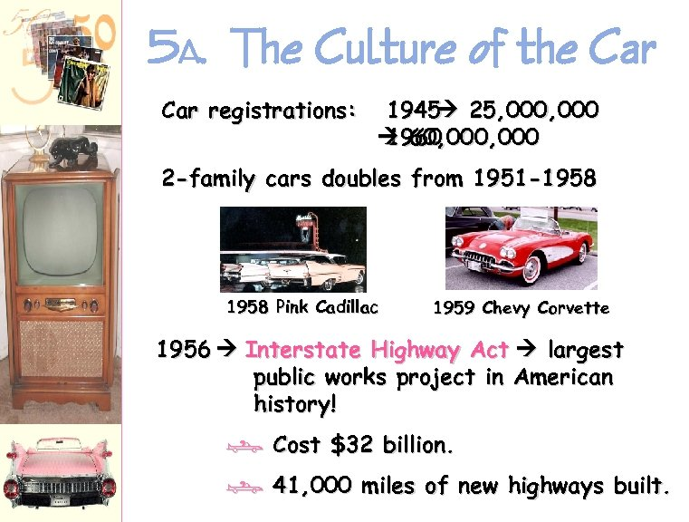 5 A. The Culture of the Car registrations: 1945 25, 000 60, 000 1960