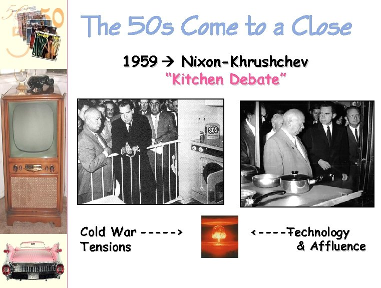 "The 50 s Come to a Close 1959 Nixon-Khrushchev ""Kitchen Debate"" Cold War ----->"
