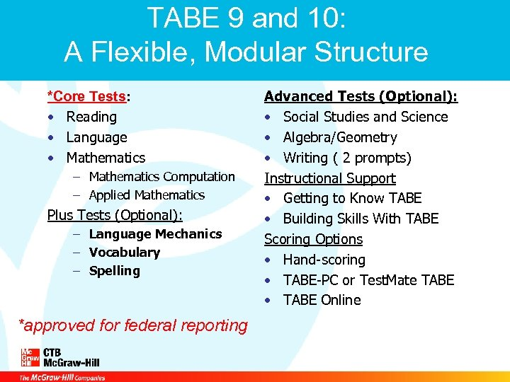 TABE 9 and 10: A Flexible, Modular Structure *Core Tests: • Reading • Language