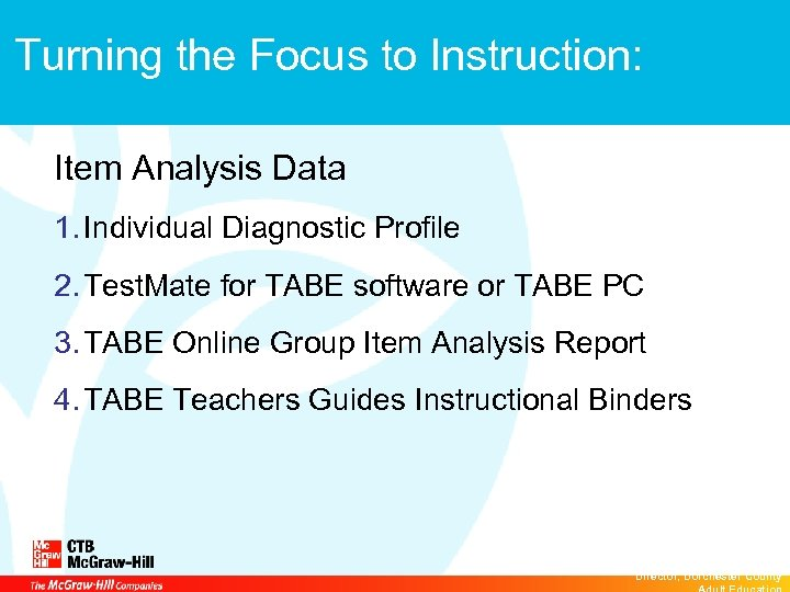 Turning the Focus to Instruction: Item Analysis Data 1. Individual Diagnostic Profile 2. Test.