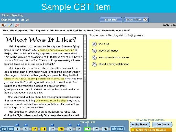 Sample CBT Item
