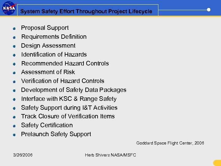 System Safety Effort Throughout Project Lifecycle Proposal Support Requirements Definition Design Assessment Identification of